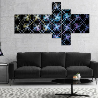 Designart Blue Unusual Fractal Metal Grill Multipanel Abstract Canvas Wall Art - 5 Panels