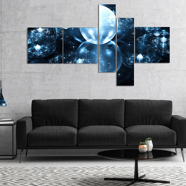 Designart Blue Water Drops On Mirror Multipanel Abstract Wall Art Canvas - 4 Panels