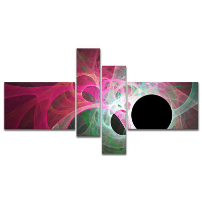 Designart Pink Fractal Angel Wings Multipanel Abstract Wall Art Canvas - 4 Panels