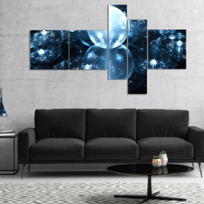 Designart Blue Water Drops On Mirror Multipanel Abstract Wall Art Canvas - 5 Panels
