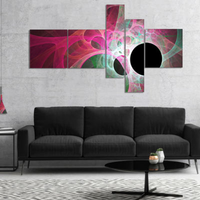 Designart Pink Fractal Angel Wings Multipanel Abstract Wall Art Canvas - 5 Panels