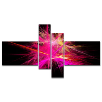 Designart Pink Fractal Chaos Multicolored Rays Multipanel Abstract Canvas Wall Art - 4 Panels