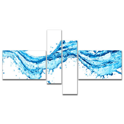 Designart Blue Water Splashes Multipanel AbstractCanvas Art Print - 4 Panels
