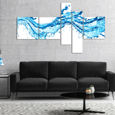 Designart Blue Water Splashes Multipanel AbstractCanvas Art Print - 5 Panels