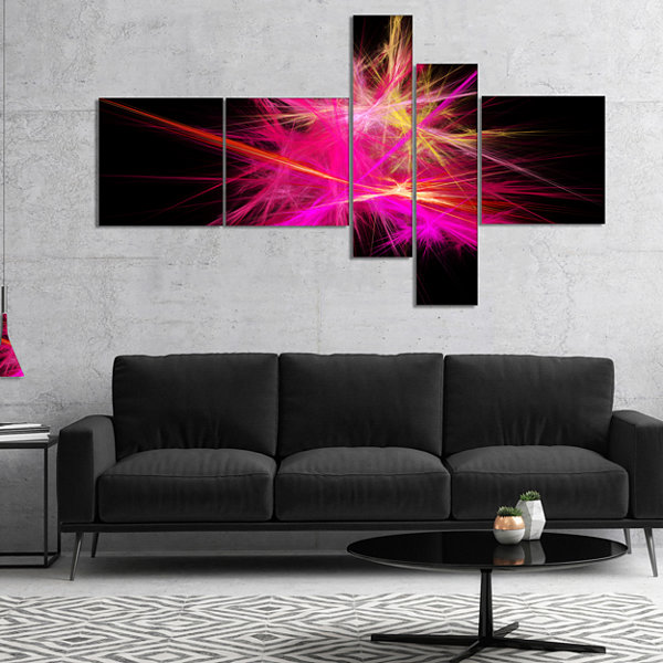 Designart Pink Fractal Chaos Multicolored Rays Multipanel Abstract Canvas Wall Art - 5 Panels