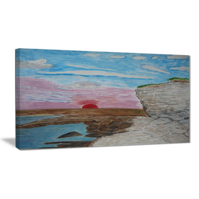 Designart Sunset Seashore Seascape Canvas Art Print