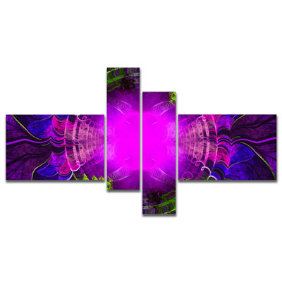Designart Pink Fractal Circles And Curves Multipanel Abstract Canvas Art Print - 4 Panels