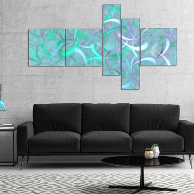Designart Blue Watercolor Fractal Pattern Multipanel Abstract Art On Canvas - 4 Panels