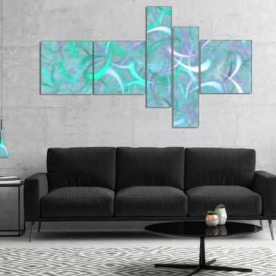 Designart Blue Watercolor Fractal Pattern Multipanel Abstract Art On Canvas - 5 Panels
