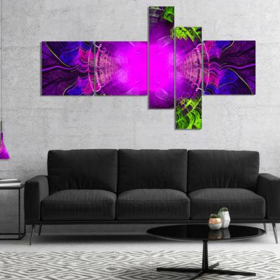 Designart Pink Fractal Circles And Curves Multipanel Abstract Canvas Art Print - 5 Panels