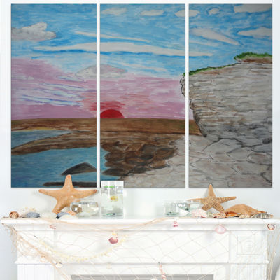Designart Sunset Seashore Seascape Canvas Art Print - 3 Panels