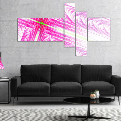 Designart Pink Fractal Cross Design Multipanel Abstract Canvas Art Print - 4 Panels