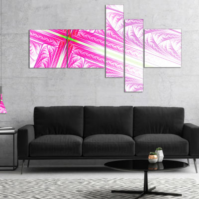 Designart Pink Fractal Cross Design Multipanel Abstract Canvas Art Print - 5 Panels