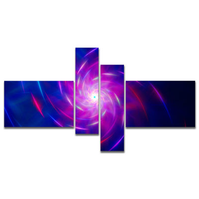 Designart Blue Whirlpool Fractal Spirals Multipanel Abstract Art On Canvas - 4 Panels