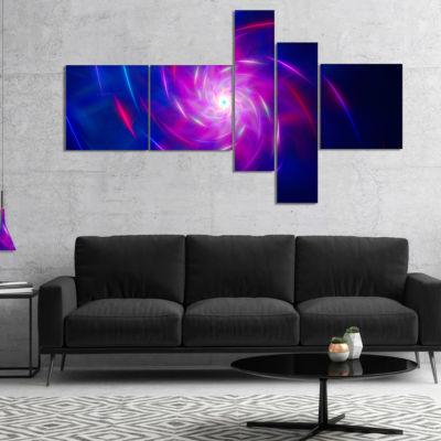 Designart Blue Whirlpool Fractal Spirals Multipanel Abstract Art On Canvas - 5 Panels