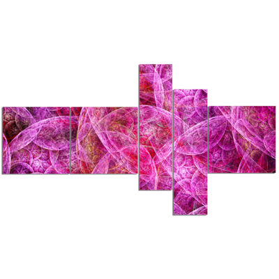 Designart Pink Fractal Dramatic Clouds MultipanelAbstract Canvas Wall Art - 5 Panels
