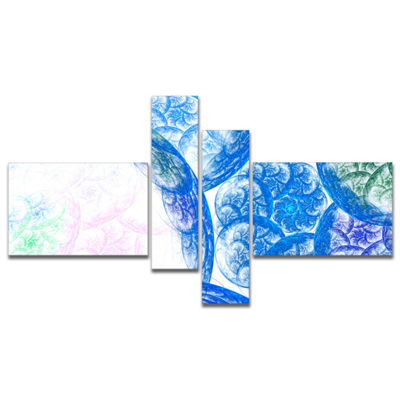 Designart Blue White Dramatic Clouds Multipanel Abstract Canvas Wall Art - 4 Panels