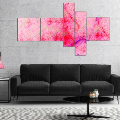Designart Pink Fractal Electric Lightning Multipanel Abstract Art On Canvas - 4 Panels