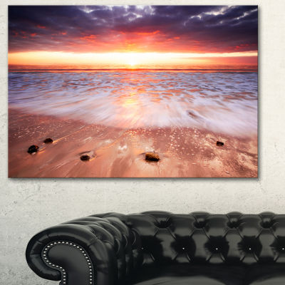 Designart Sunset Strip Landscape Photography Canvas Art Print - 3 Panels