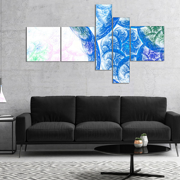 Designart Blue White Dramatic Clouds Multipanel Abstract Canvas Wall Art - 5 Panels