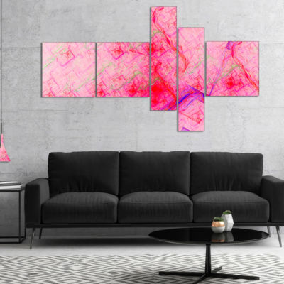 Designart Pink Fractal Electric Lightning Multipanel Abstract Art On Canvas - 5 Panels