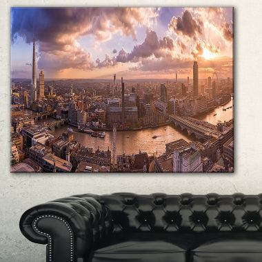 Designart Sunset Through Clouds In London Photography Canvas Art Print