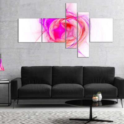 Designart Pink Fractal Explosion Supernova Multipanel Abstract Canvas Art Print - 5 Panels
