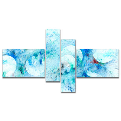Designart Blue White Fractal Glass Texture Multipanel Abstract Canvas Art Print - 4 Panels