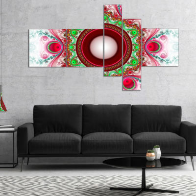 Designart Pink Fractal Pattern With Circles Multipanel Abstract Canvas Art Print - 5 Panels