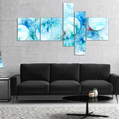 Designart Blue White Fractal Glass Texture Multipanel Abstract Canvas Art Print - 5 Panels