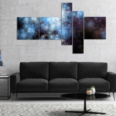 Design Art Blue White Starry Fractal Sky MultipanelAbstract Art On Canvas - 4 Panels