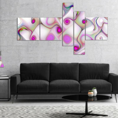 Designart Pink Fractal Pattern With Swirls Multipanel Abstract Canvas Wall Art - 5 Panels