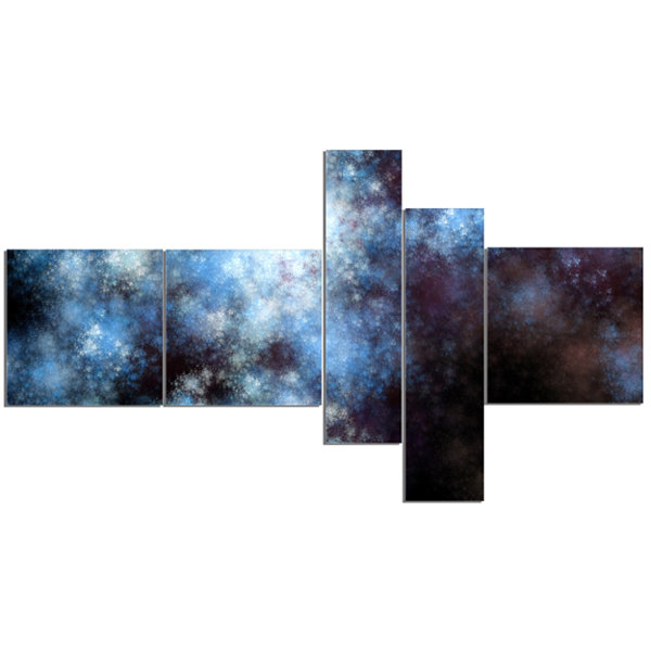 Designart Blue White Starry Fractal Sky MultipanelAbstract Art On Canvas - 5 Panels