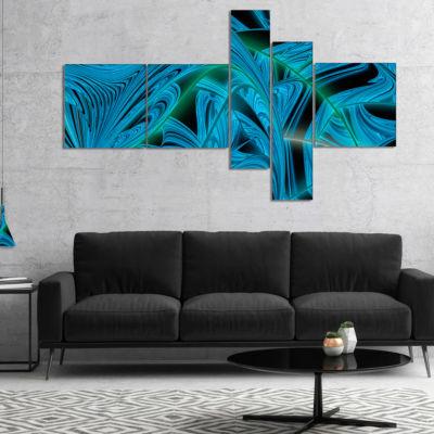 Designart Blue Winter Fractal Pattern MultipanelAbstract Art On Canvas - 4 Panels