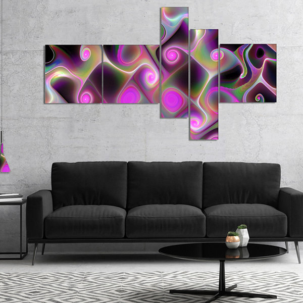 Designart Pink Fractal Pattern With Swirls Multipanel Abstract Wall Art Canvas - 5 Panels