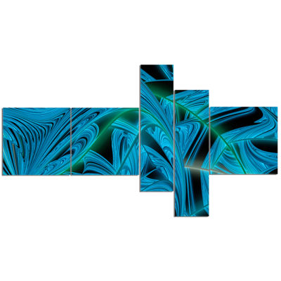 Designart Blue Winter Fractal Pattern MultipanelAbstract Art On Canvas - 5 Panels