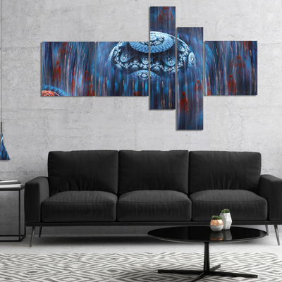 Designart Blue World Of Infinite Universe Multipanel Abstract Canvas Art Print - 4 Panels