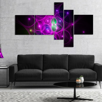 Designart Pink Fractal Space Circles Multipanel Abstract Canvas Art Print - 5 Panels