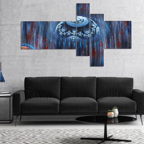 Designart Blue World Of Infinite Universe Multipanel Abstract Canvas Art Print - 5 Panels