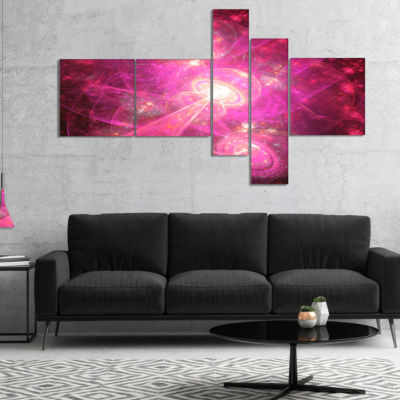 Designart Pink Fractal Space Theme Multipanel Abstract Canvas Art Print - 5 Panels