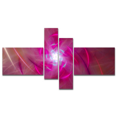 Design Art Pink Fractal Whirlpool Design MultipanelAbstract Wall Art Canvas - 4 Panels