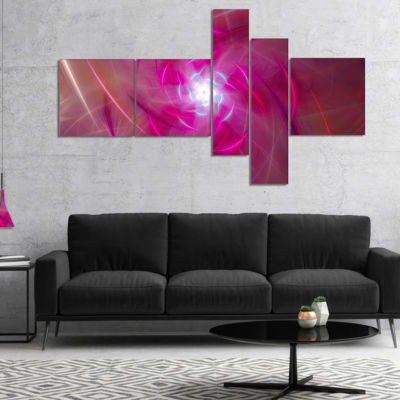 Designart Pink Fractal Whirlpool Design MultipanelAbstract Wall Art Canvas - 5 Panels