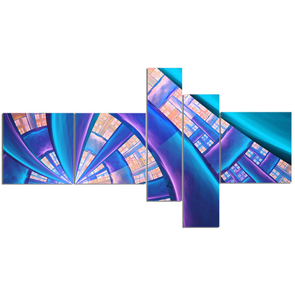 Designart Blue Yellow Fractal Stained Glass Multipanel Abstract Canvas Art Print - 5 Panels