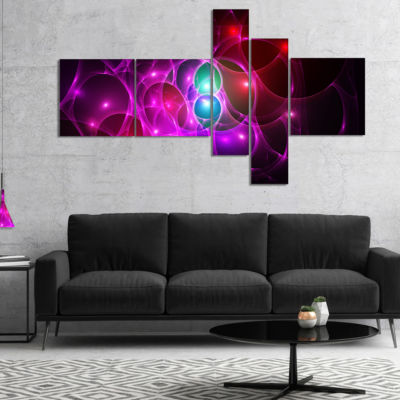 Designart Pink Glowing Bubbles Time Multipanel Abstract Wall Art Canvas - 4 Panels