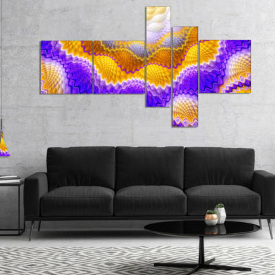 Designart Blue Yellow Snake Skin Flower MultipanelAbstract Wall Art Canvas - 5 Panels
