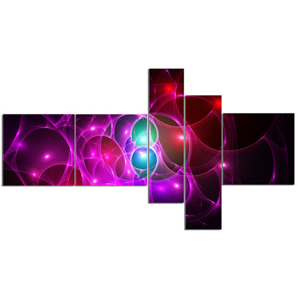 Designart Pink Glowing Bubbles Time Multipanel Abstract Wall Art Canvas - 5 Panels