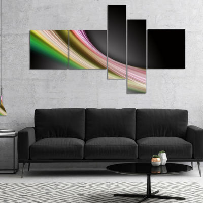 Designart Pink Green Abstract Lines Multipanel Abstract Canvas Art Print - 5 Panels