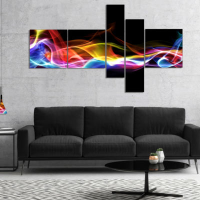 Designart Blue Yellow Waves In Black Multipanel Abstract Canvas Art Print - 5 Panels