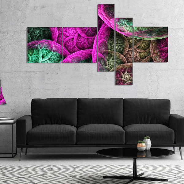 Designart Pink Green Dramatic Clouds Multipanel Abstract Canvas Wall Art - 5 Panels