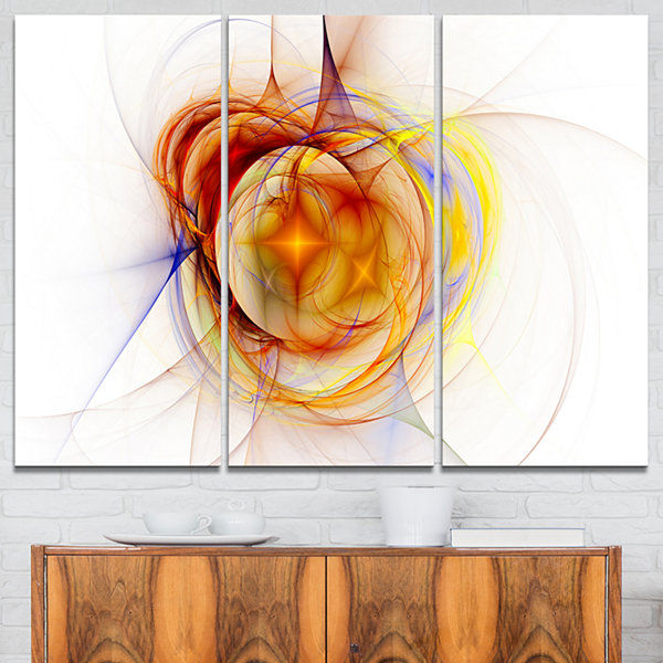 Designart Supernova Explosion In White Abstract Print On Canvas - 3 Panels